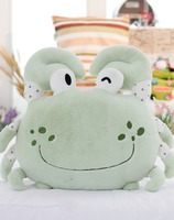 Wholesale High Quality lovely customized Soft plush crab shape pillow/cushion/bolster with embroidered logo(green)
