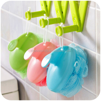 Eco-friendly quality PE bath sponge mesh puffs loofahs shower ball with handle