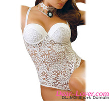 Wholesale Open Women Night Wear Nude White Lace Sexy Micro Teddy Lingerie