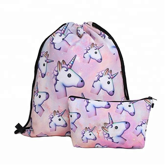 Creative printing unicorn Drawstring Backpack cosmetic bag cartoon waterproof storage bag