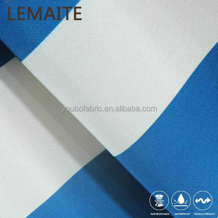 White Blue Stripe 100% Poly Fabric Yarn Dyed Fabric Polyester