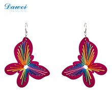 Women Big Wooden Earrings Fresh Blue Wood Butterfly Dangle Earrings