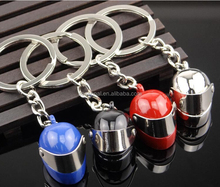 wholesale stock different color metal motorcycle safety helmet keychain/keyring
