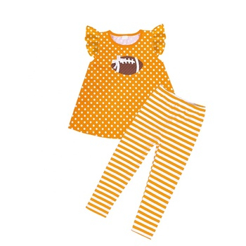 wholesales children girls baby clothing sports season outfit football girls outfit