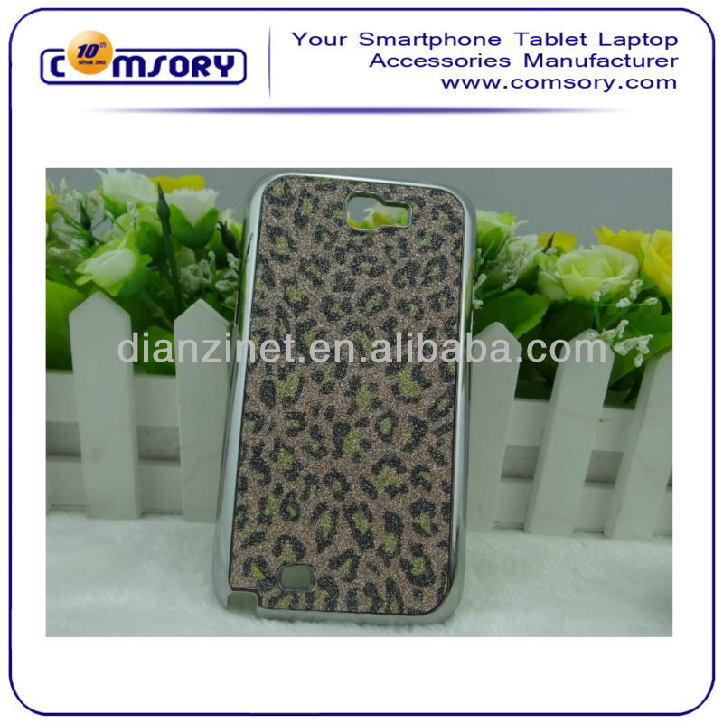 shining phone case with leopard print for Samsung Galaxy Note 2 N7100 Paypal Acceptable