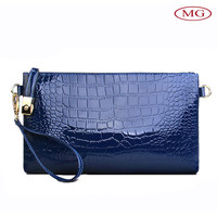free shipping wholesale blue women leather clutch bags with handle strap