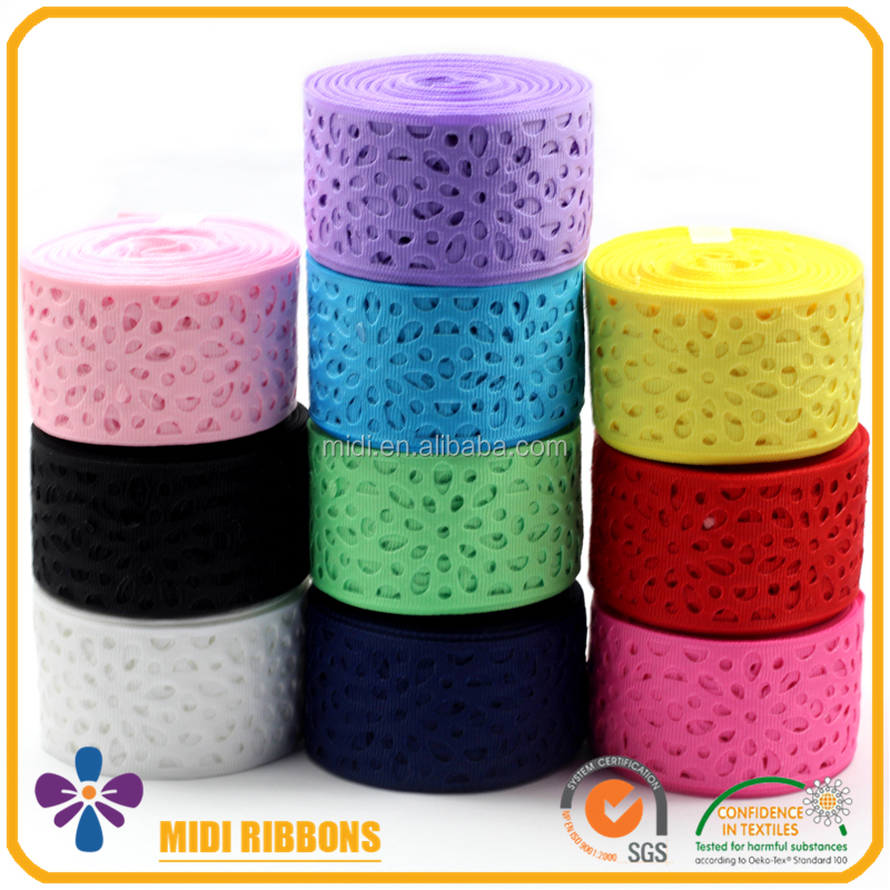 "Custom Heat Cut Pattern Colorful 1.5"" Wide Eyelet Grosgrain Ribbon,Gift Decoration Hole Ribbon Wholesale"