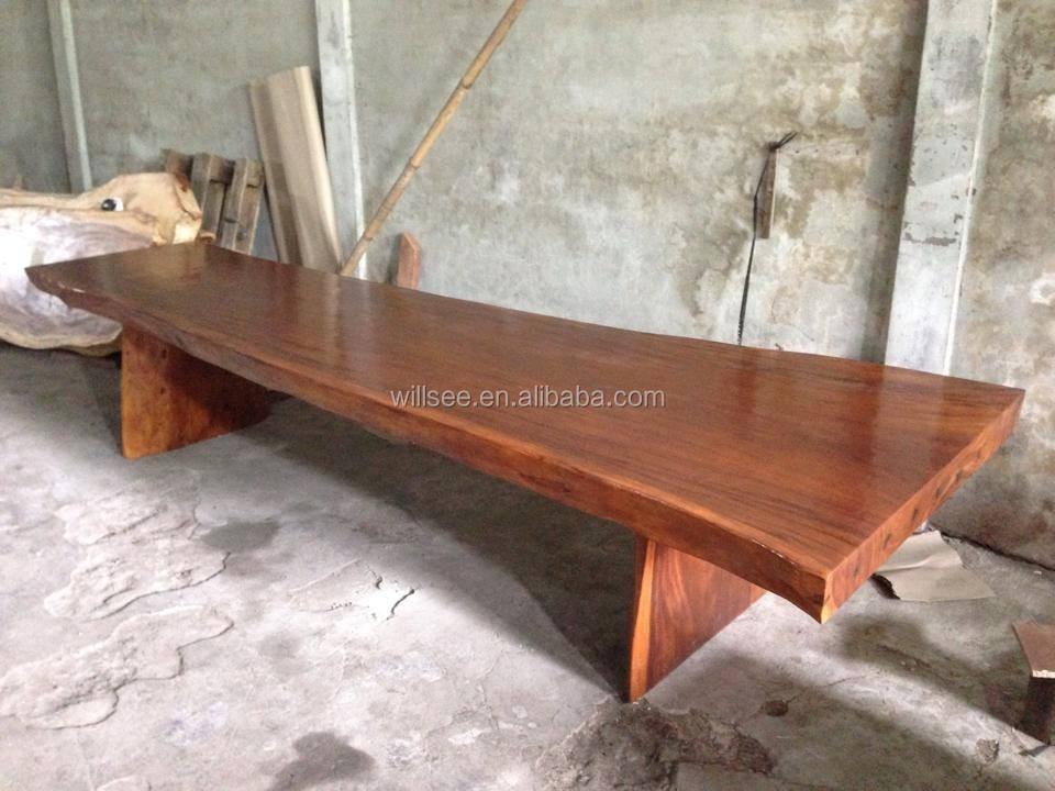 LS-1022, 단단한 나무 Nela 솔리드 Suar 이닝 테이블, 고체 슬래브 ...