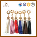 Colorful leather tassel fringe custom leather tassel keychain