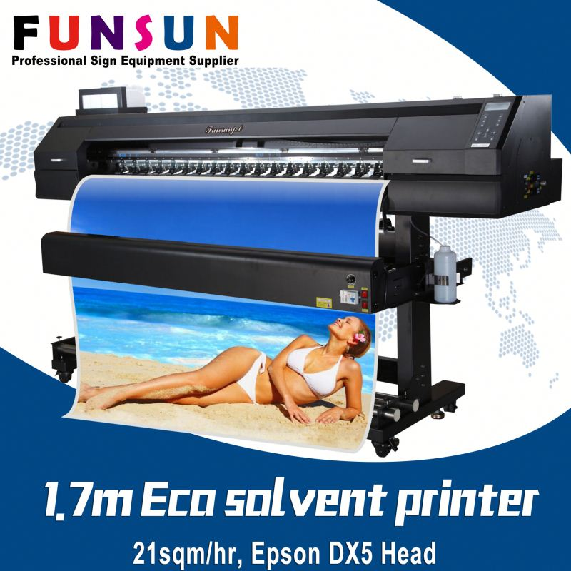 Funsunjet FS-1700K 1.7m 1440dpi DX5/7 head alibaba china wit color eco solvent inkjet printer