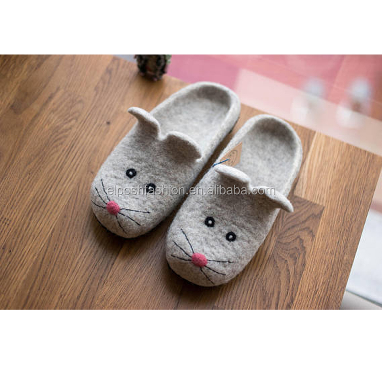 Wholesale Grey Wool House Slippers Felted Slippers