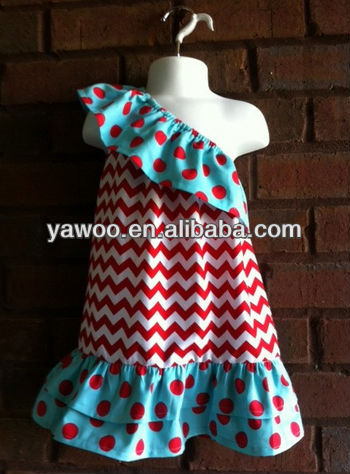 2013 hotsale! sexy one-shoulder dress Summer chevron latest sexy dress for baby girls zig-zag dress for girls