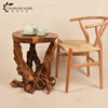 High reputation wooden root carving end table small made by hand