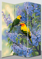 bird flower spring home decorative room divider 3 panels partition separator