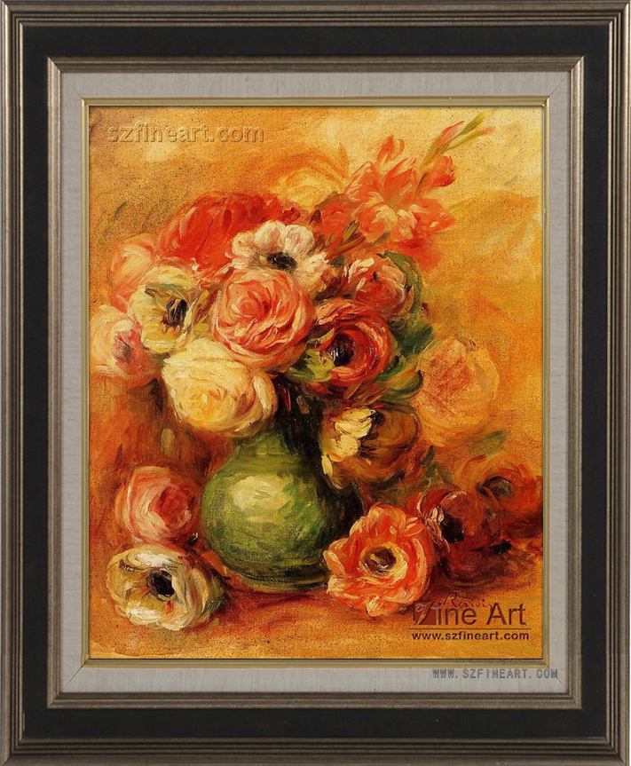 Superior Quality Impression Decoration Renoir Flower Glass Vase Painting