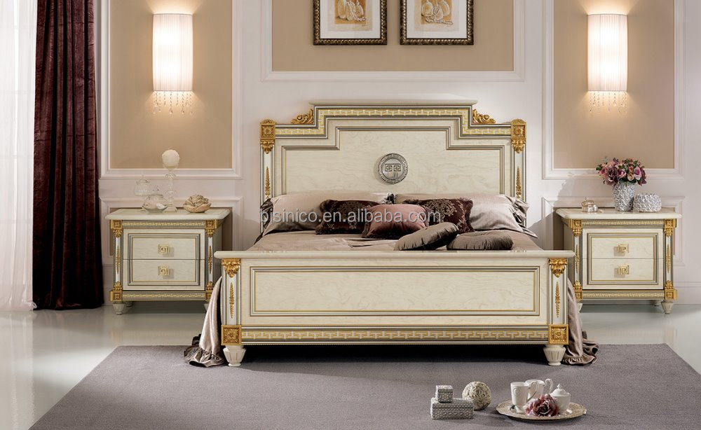 Bisini Hot Sale Golden Color Solid Wood Veneer King Size Bed With Decorative Moulding And Side Table(MOQ=1 SET)