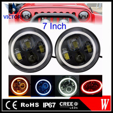 4x4 Accessories off road Jeep 7inch Angel Eyes LED Headlight with halo