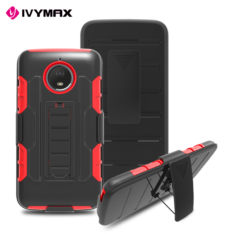China phone case manufacturer hybrid shockproof 3 in 1 silicone case with rugged holster case for MOT E4 PLUS