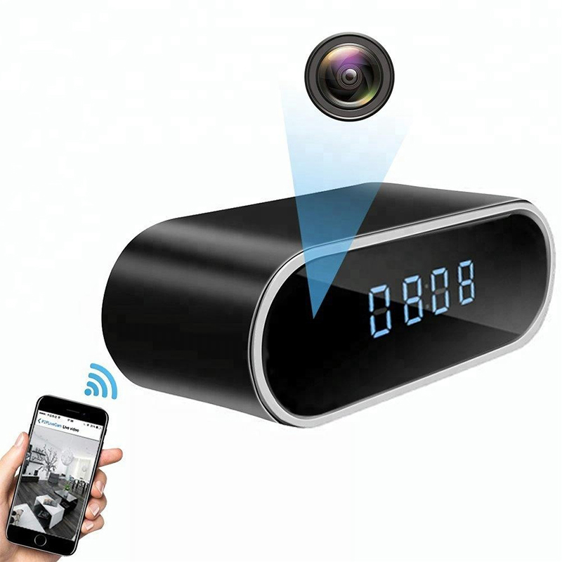 High quality pir working mini 1080p multi-function clock camera with 1800mAh <strong>Battery</strong>