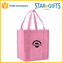 Promotional Cheap Recycled Custom Logo Foldable Reusable Non-woven Pink Shopping Bag