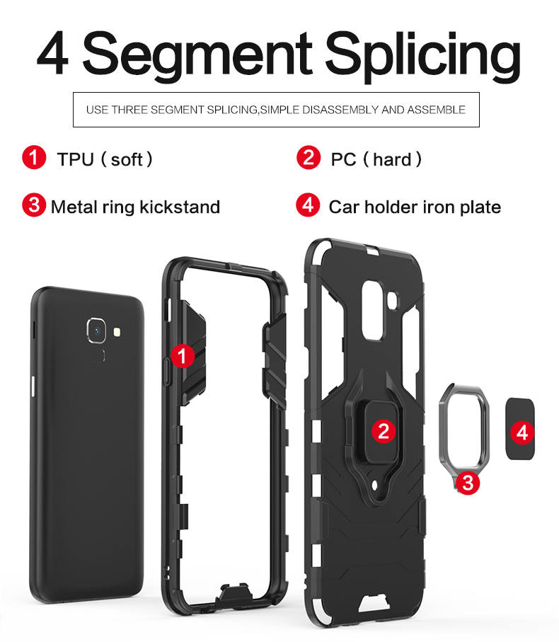 Car Mount Magnetic Attracion Metal Ring TPU PC hybrid smart phone case back cover case for samsung galaxy j6