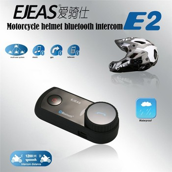 Factory!E2 helmet wireless walkie talkie with bluetooth headset for 4 person use 1200m talking distance