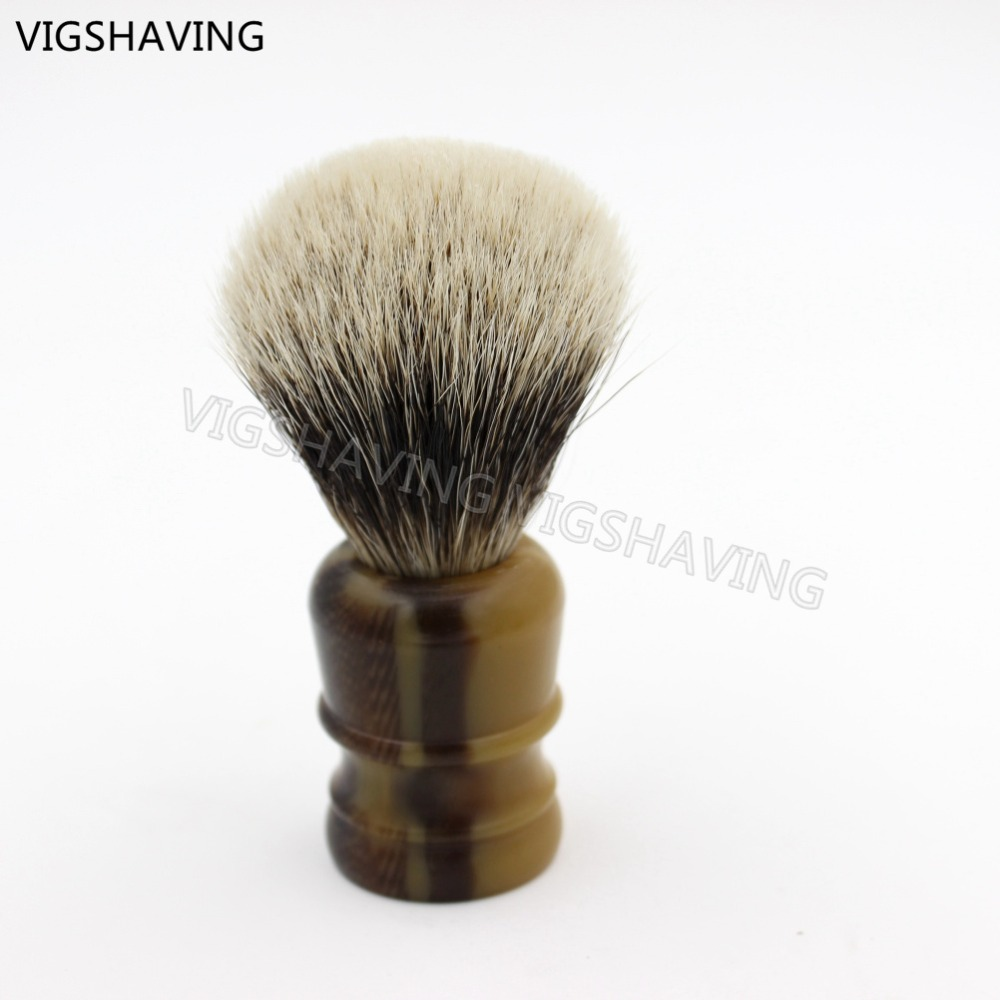 faux horn handle 2band badger shaving brush