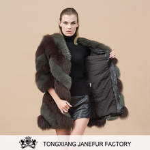 New product double color long fur overcoat real silver fox