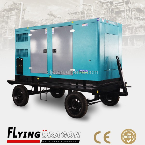 180kw standby mobile power plant with four wheels trailer, SDEC portable silent diesel generation manufacture
