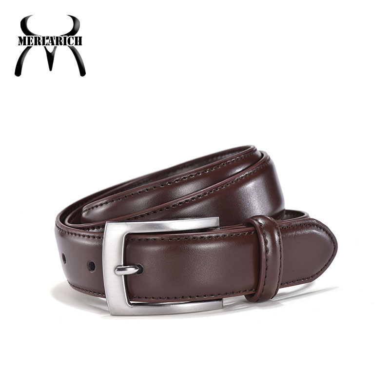 High quality 3.0cm dark brown leather men suit <strong>belt</strong>