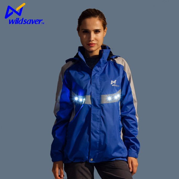 waterproof jackets with hood for women with LED lights