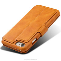 Super slim mobile phone with price genuine leather mobile phone case genuine cowhide leather flip wallet phone case for iphone 7