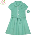 Green Gingham Children Dress with Belt