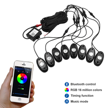 RGB LED Rock Lights with Bluetooth Controller, Timing Function, Music Mode 8 Pods Multicolor Neon LED Light Kit
