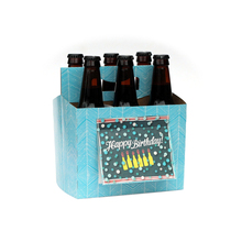 6 pack beer bottle gift carrier color custom printing paper box