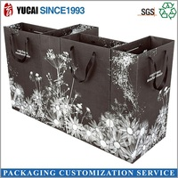 Flower Print Custom Paper Shopping Bags