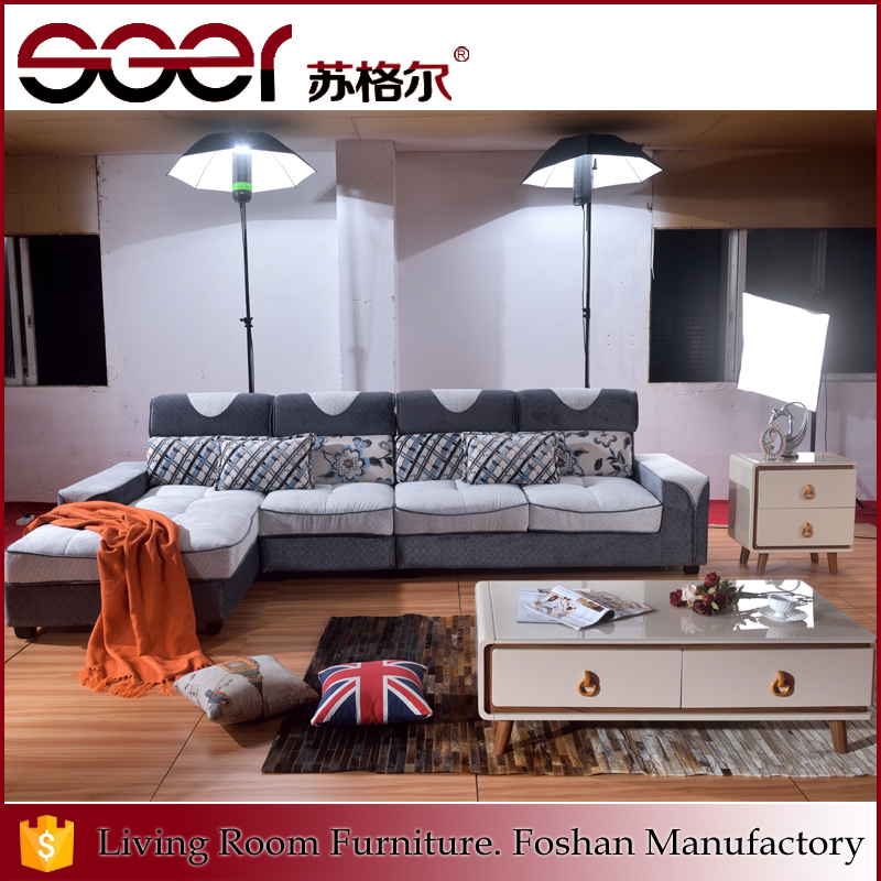 Foshan supply L shape furniture fashion design gray corner sofa