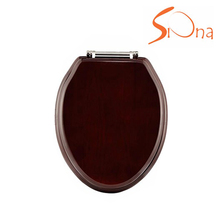 Good price mdf mahogany color wood solid oak toilet seats elongated