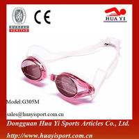 Salable silicone anti-fog prescription logo wholesale mirror competition swim goggles