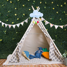 100% Handmade Cotton Linen Wooden Poles Teepee Tent for Sale