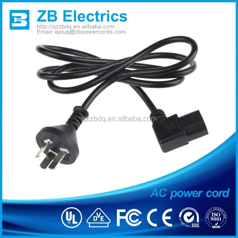 Black Argetina IRAM 3 pin D11rated 10A/ 250V power cords 3 cores electric cable plug C13 connector