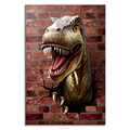 Dinosaur Break Throught the Wall HD Tyrannosaurus Photo Canvas Prints Cool Room Decoration for Boy's Room