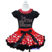 Red White Polk Dots Pettiskirt with Collar Bling Rhinestone Red Little Sister Black Short Sleeves Top 1-7Y