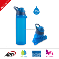 500ml/16oz Original Rollable Silicone Water Bottle,Outdoor Sports Bottle,Bpa Free