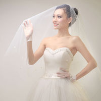 Appliqued very cheap elegant one layer off white wedding veils
