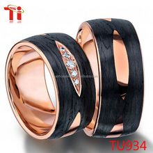 stainless steel ring with carbon fibber ring, carbon jewelry price with diamond ring