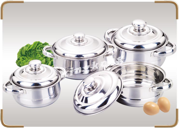 Single Bottom Mark Is Avaiable Cookware Stainless Steel Camping Cooking Pot Set