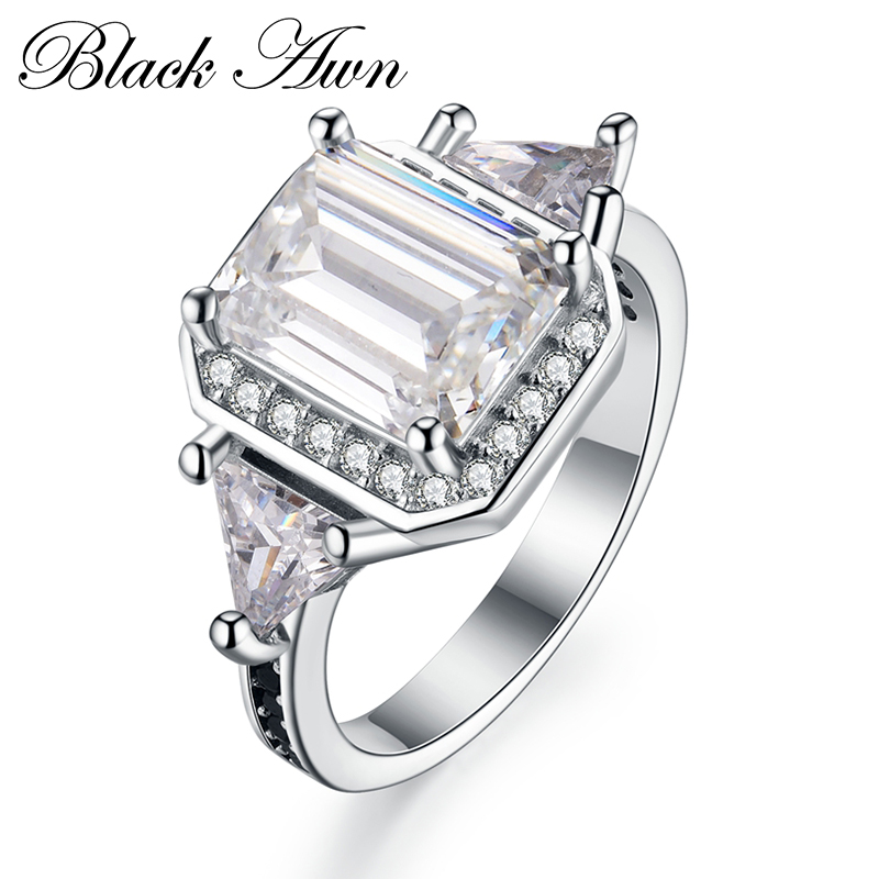 [BLACK AWN] 925 Sterling Silver Fine Jewelry Trendy Engagement Bague for Women Wedding Ring <strong>C100</strong>