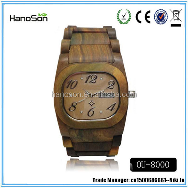 Most popular products 2016 luxury wooden wrist watch Maple Sandalwood Quartz watches bezel Japan movt watch for sale