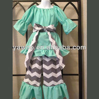 Chevron Stripe Design 100% cotton 2014 newest design baby girls clothing sets adult size baby clothes outfit wholesale